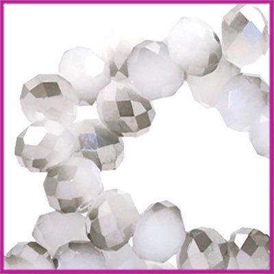Glaskraal top facet disc 4x3mm Light grey half greige diamond