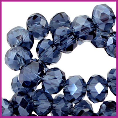 Glaskraal top facet disc 6x4mm Montana blue half pearl diamond