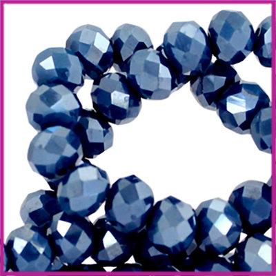 Glaskraal top facet disc 6x4mm Riverside blue pearl diamond