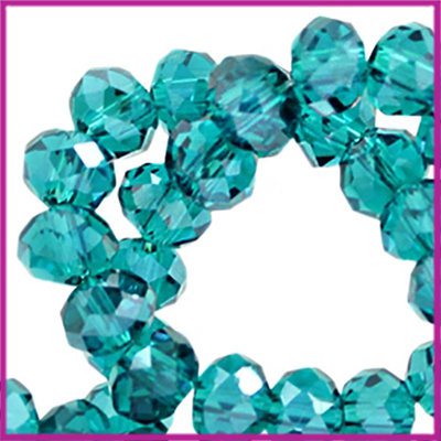 Glaskraal top facet disc 6x4mm Blue zircon pearl diamond