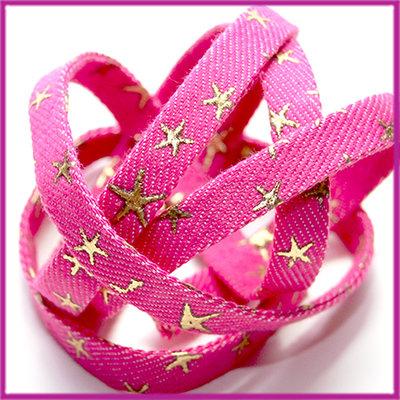 Stoffen koord met gouden sterren plat 10x2,5mm donker roze per ca. 20cm