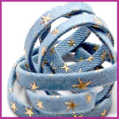Stoffen koord met gouden sterren plat 10x2,5mm licht blauw per ca. 20cm