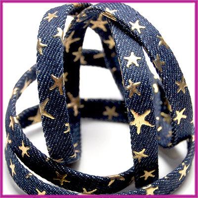 Stoffen koord met gouden sterren plat 10x2,5mm donker blauw per ca. 20cm