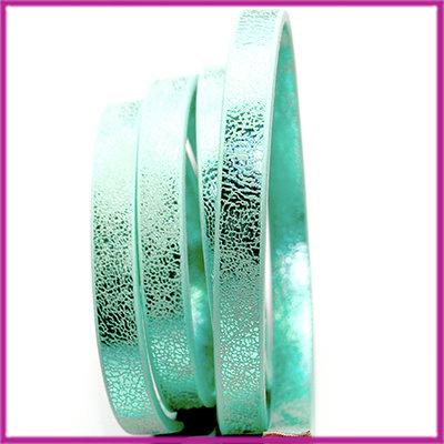 Imitatie leer plat metallic 10mm Mint groen, ca. 19,5cm