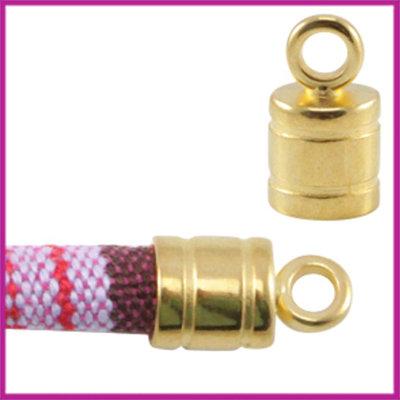 DQ metaal eindkapje met oog voor 6mm koord Goud