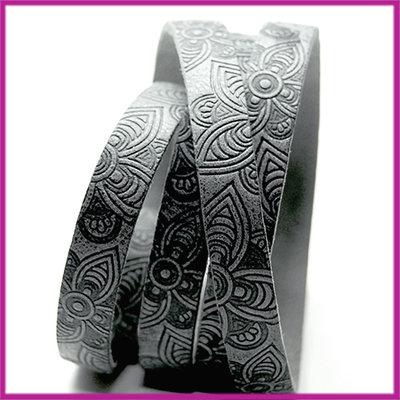 DQ leer plat 10mm mandala print Antraciet zwart, ca. 19,5cm