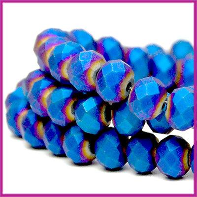 Glaskraal facet disc 6x4mm mat koningsblauw