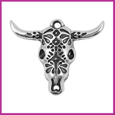 DQ metaal bedel 39x32mm buffelkop bewerkt Antiek zilver