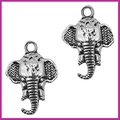 Metaal bedel olifantenhoofd 21x15mm Antiek zilver