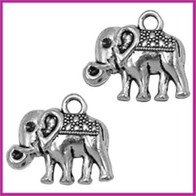 Metaal bedel olifant 16x14mm Antiek zilver