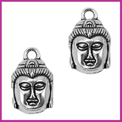 Metaal bedel Boeddha 17x11mm Antiek zilver
