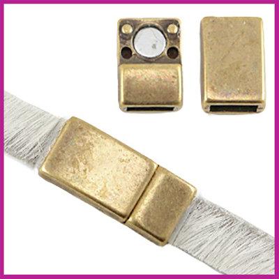 DQ magneetslot voor 5 / 6mm plat leer Antiek brons