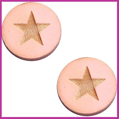 Houten basic cabochon plaksteen acryl Ø12mm Star large pink