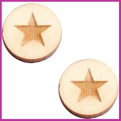 Houten basic cabochon plaksteen acryl Ø12mm Star large naturel wood