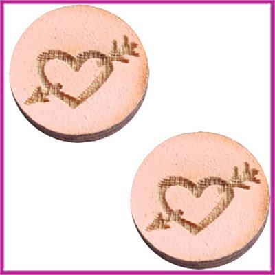 Houten basic cabochon plaksteen acryl Ø12mm Heart&arrow pink