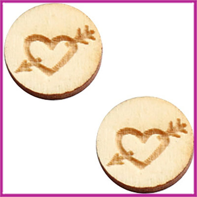 Houten basic cabochon plaksteen acryl Ø12mm Heart&arrow naturel wood
