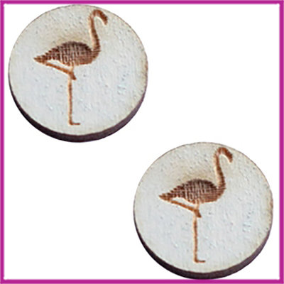 Houten basic cabochon plaksteen acryl Ø12mm Flamingo grey