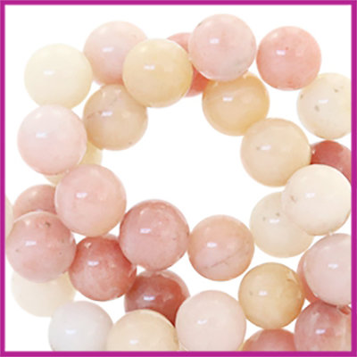 Agaat kraal Rose Peach multicolor rond Ø6mm