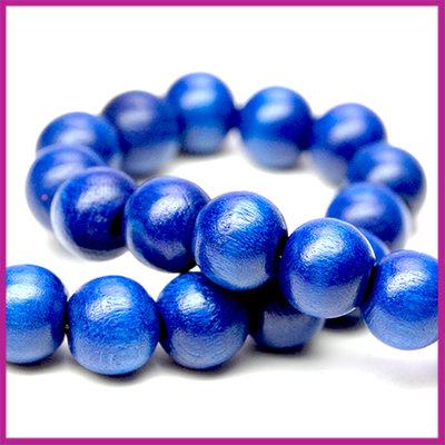 Houten kraal gelakt rond Ø8mm Donker Blauw