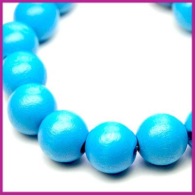 Houten kraal gelakt rond Ø10mm Aqua Blauw