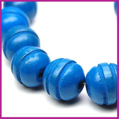 Houten kraal gelakt bewerkt rond Ø12mm Blauw