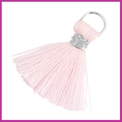 Kwastje Ibiza style 2cm met ring zilver light roze