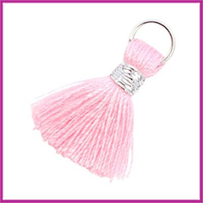 Kwastje Ibiza style 2cm met ring zilver roze