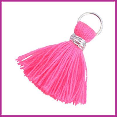 Kwastje Ibiza style 2cm met ring zilver neon pink