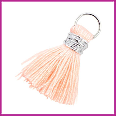 Kwastje Ibiza style 2cm met ring zilver light peach orange