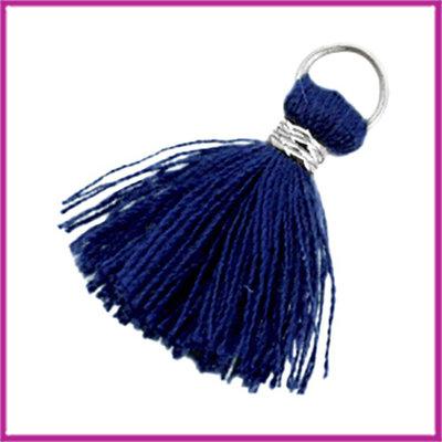 Kwastje Ibiza style 2cm met ring zilver donker blauw