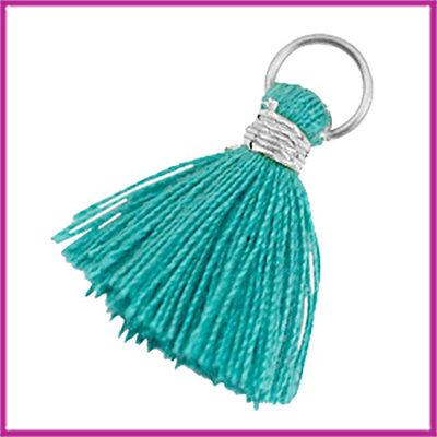 Kwastje Ibiza style 2cm met ring zilver dark emerald green