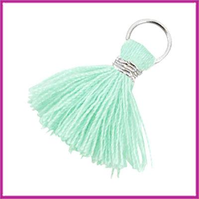 Kwastje Ibiza style 2cm met ring zilver turquoise groen