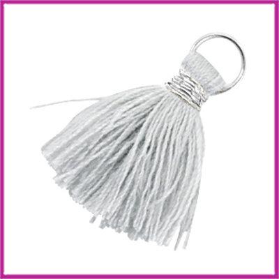 Kwastje Ibiza style 2cm met ring zilver licht grijs