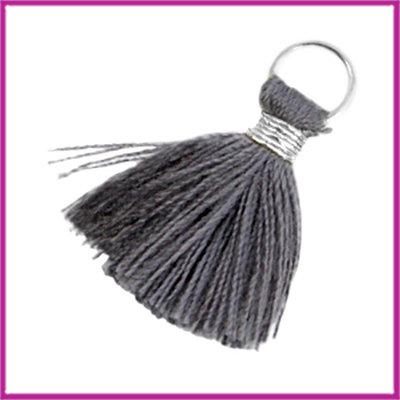 Kwastje Ibiza style 2cm met ring zilver donker grijs