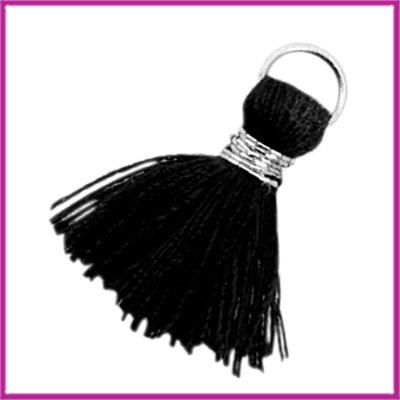 Kwastje Ibiza style 2cm met ring zilver zwart