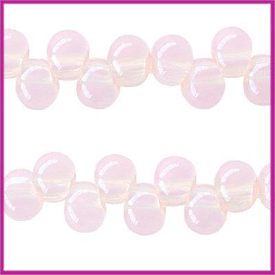 Glaskralen asymmetrisch 6mm Vintage pink opal