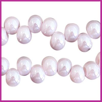Glaskralen asymmetrisch 6mm Lavender mist-pearl shine coating
