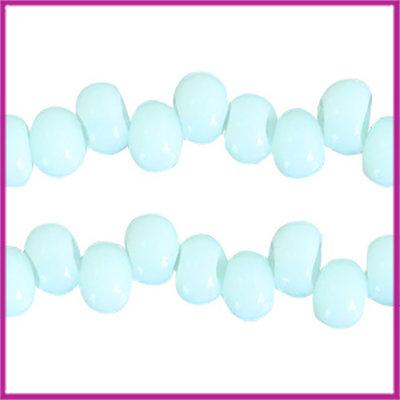 Glaskralen asymmetrisch 6mm Turquoise light blue