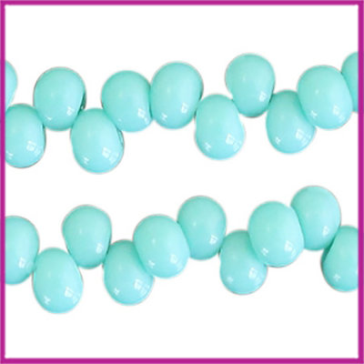 Glaskralen asymmetrisch 6mm Turquoise