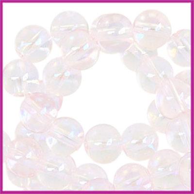 Glaskralen rond 6mm Light pink transparant-half diamond coating