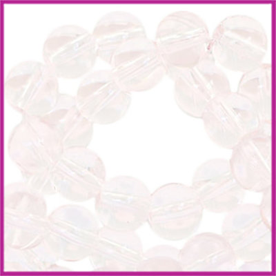 Glaskralen rond 6mm Transparant light pink