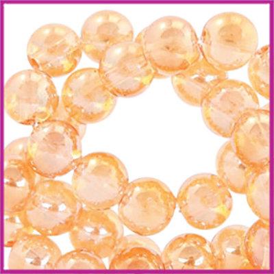 Glaskralen rond 6mm Topaz gold transparant-pearl shine coating