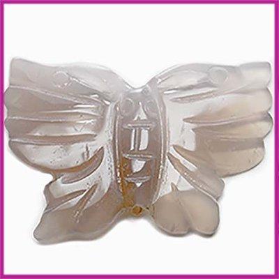 Natuursteen kraal vlinder grey opal
