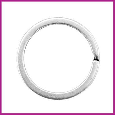 DQ sleutelhanger ring metaal Ø30mm Antiek zilver