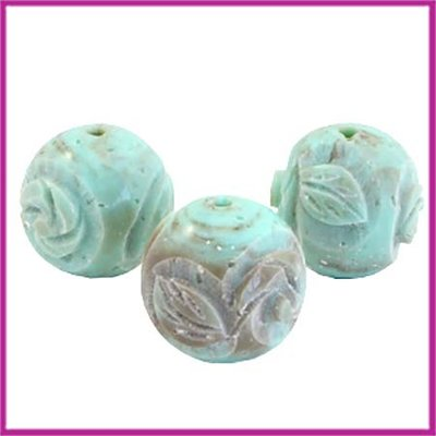 DQ acryl carved Polaris kraal rond 16mm turquoise