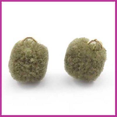 Pompom bedel met goud ringetje Ø15mm Olive green