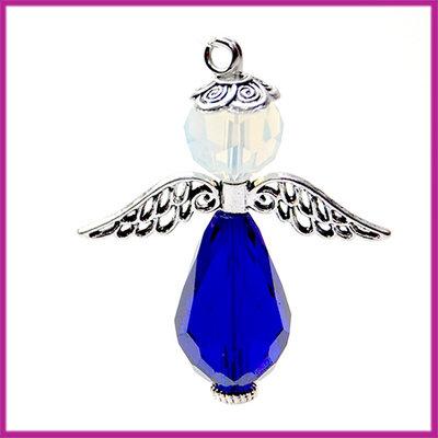DIY pakketje sleutelhanger beschermengel L Transparant royal blauw