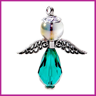 DIY pakketje sleutelhanger beschermengel L Transparant emerald groen
