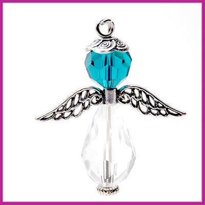DIY pakketje sleutelhanger beschermengel L Transparant crystal blue zircon
