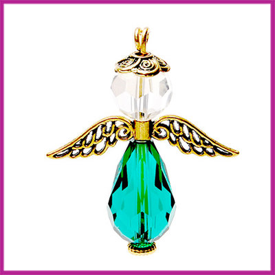 DIY pakketje sleutelhanger beschermengel L Transparant emerald groen Goud